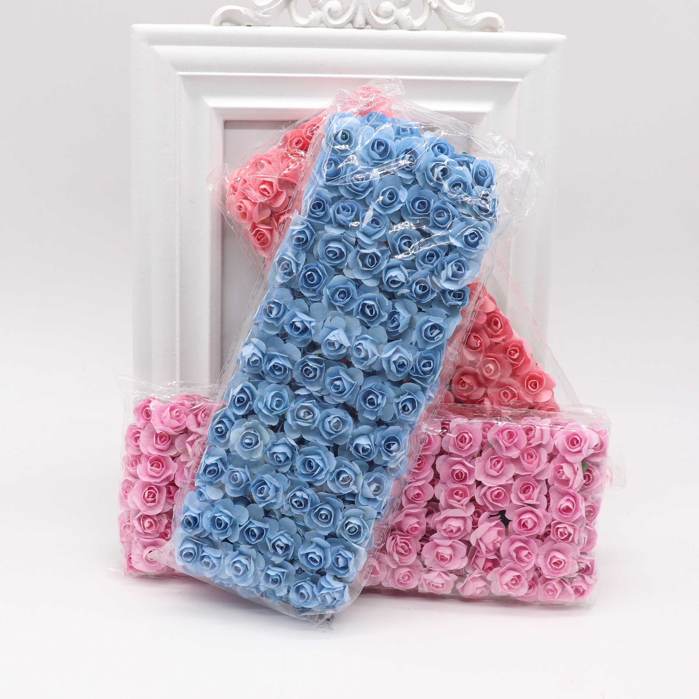 144 Pcs 1.5 Cm Mini Mini Buatan Kertas Rose Bunga DIY Wreath Scrapbook Pernikahan Ornamen Buatan Mawar Bunga Buatan