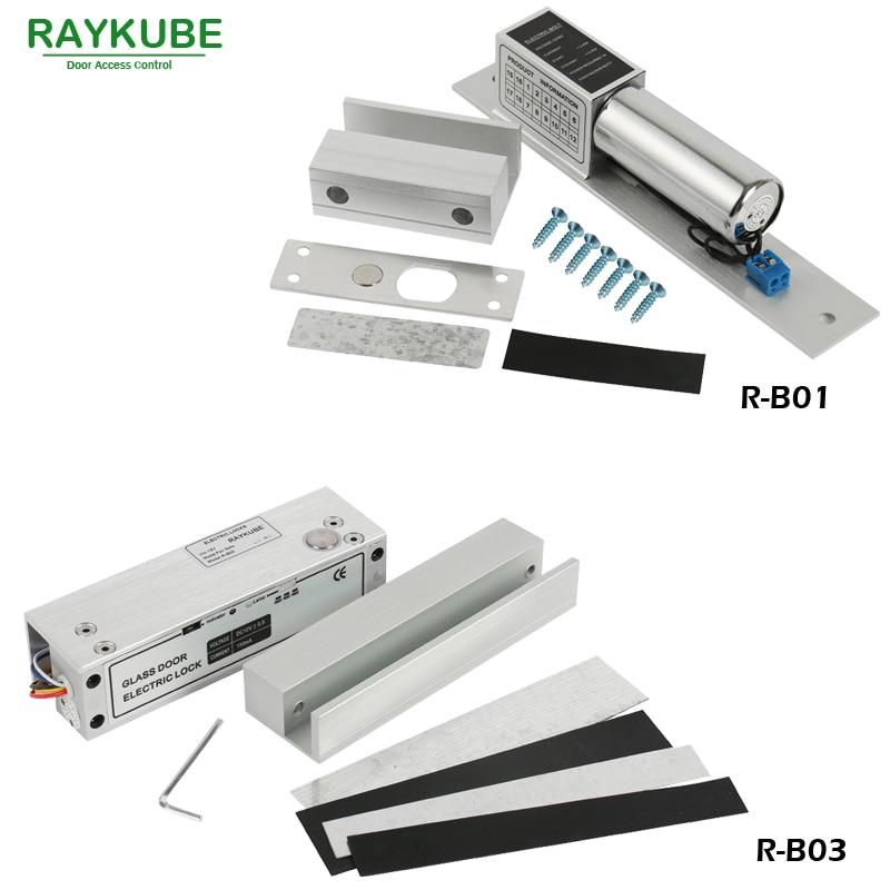 RAYKUBE 유리 도어 액세스 제어 키트 전기 볼트 잠금 + - 보안 및 보호 - 사진 3