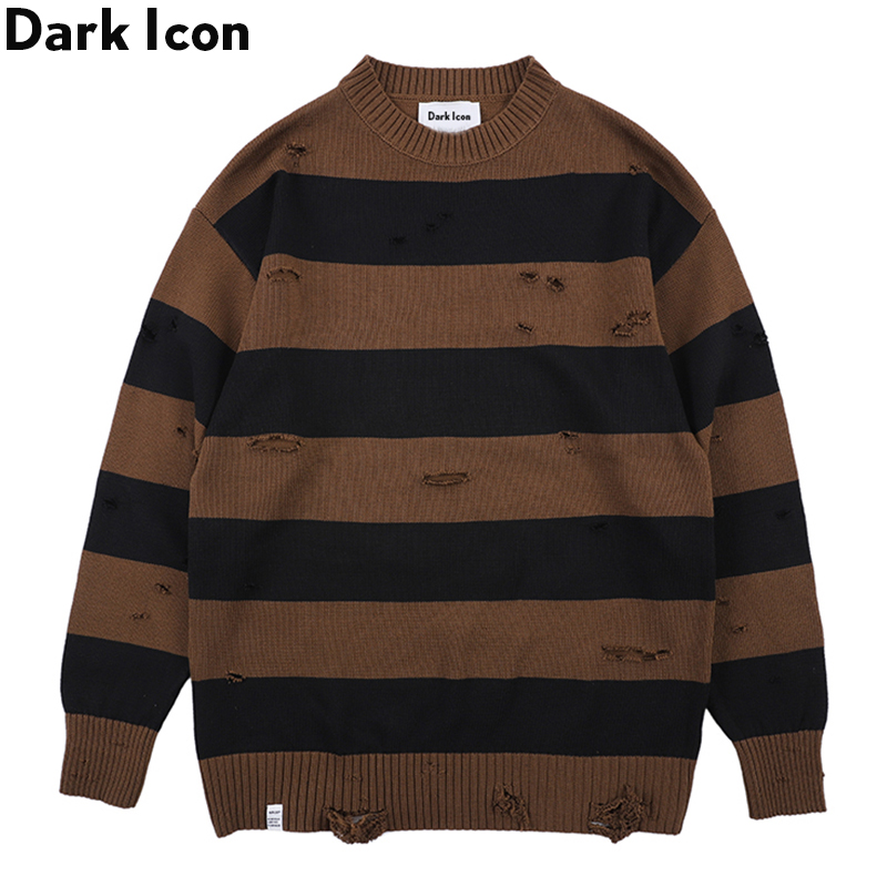 Dark Icon Big Stripe Destroyed Street Sweater Men Round Neck Mens Fashion Sweaters for Streetwear Clothing