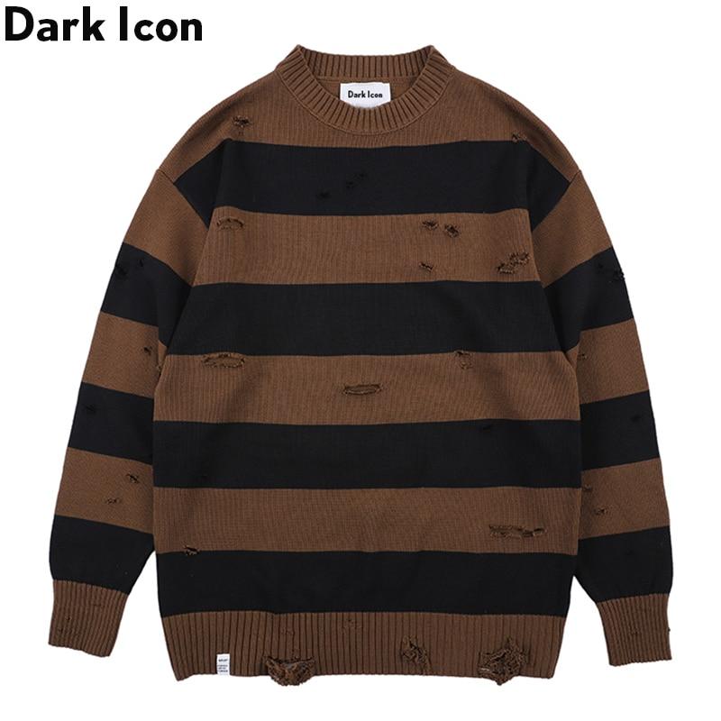 Dark Icon Big Stripe Destroyed Street Sweater Men Round Neck Men's Sweater Fashion Sweaters For Men Streetwear Clothing