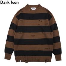 Dark Icon Big Stripe Destroyed Street Sweater Men Round Neck Mens Fashion Sweaters for Streetwear Clothing