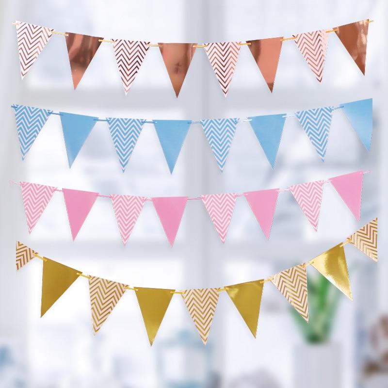 Baby Shower Kids Favors Bunting Garland ondulés Bannière Papier Drapeau Party Decor