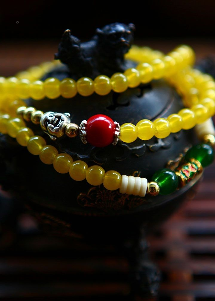 Wholesale Religion Jewelery Yellow Onyx Resin Alloy Amulets Beads 5mm Multilayer Buddha Bracelets Women Lucky Gift Fashion