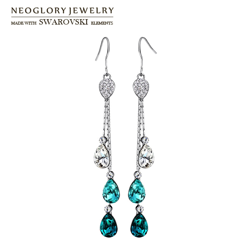 Neoglory Austria Rhinestone Crystal Drop Earrings Water Drop Style Alloy Plated Elegant Beads For Trendy Women