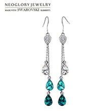 Neoglory austria rhinestone y pendientes de gota de cristal gota de agua estilo aleación plateada beads elegante para regalo de las mujeres de moda
