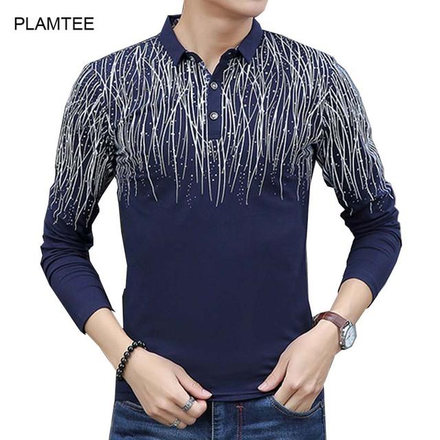 Camisetas Masculinas com Manga Longa para Homens Camisas Pólo de Moda de Impressão em Camisetas Hombre Slim Outono Polo Blusas Tops com Botão
