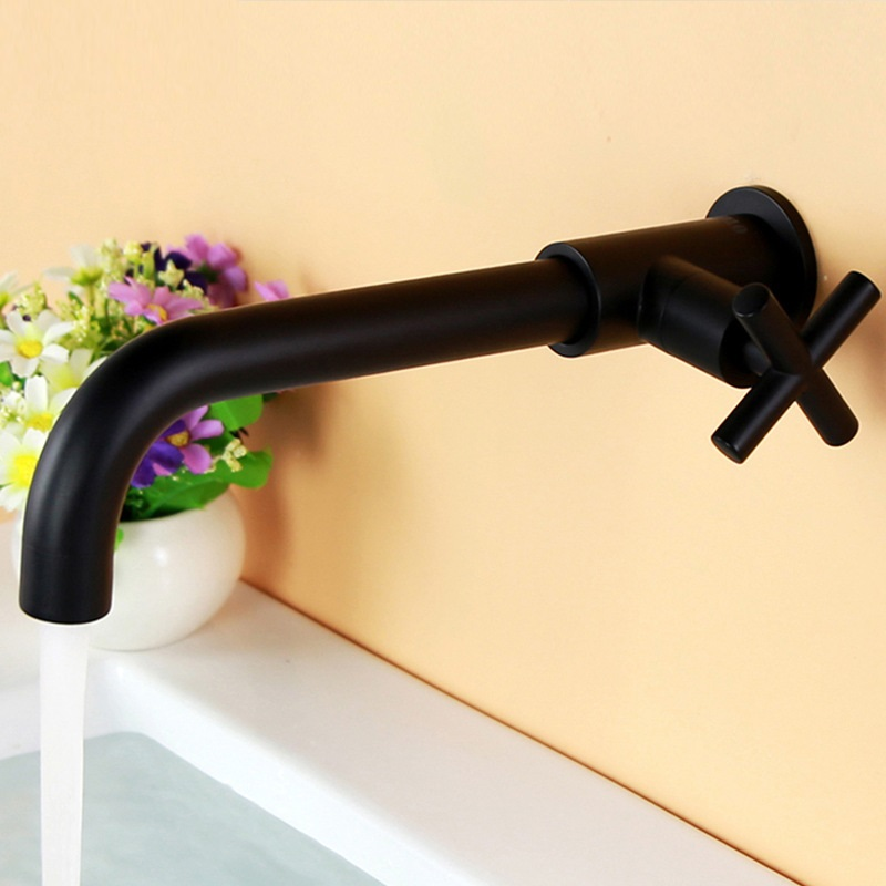 Splashproof bathroom wall mounted long mop pool faucet Single cold chrome black copper basin faucet kitchen