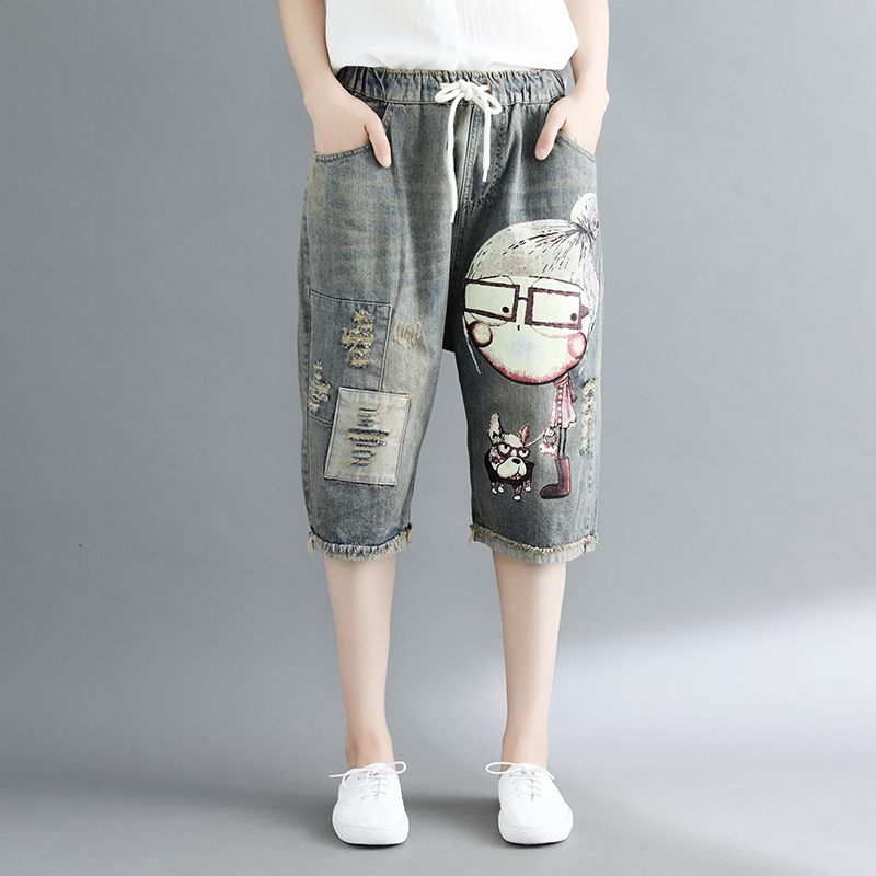 Women Summer Fashion Brand Korea Style Vintage Girl Dog Print Hole Loose Denim Shorts Jeans Female Casual Elastic Waist Shorts