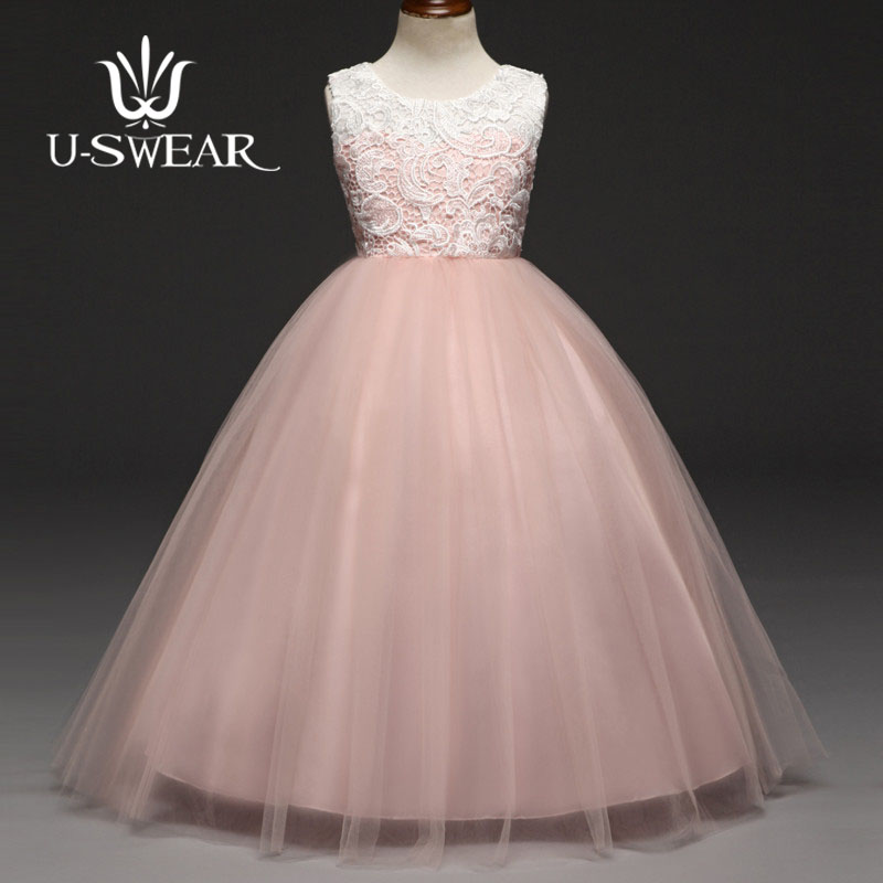 U-SWEAR 2019 New Arrival   Flower     Girl     Dresses   O-neck Sleeveless Flora Lace Floor-Length Chiffon   Girls   Pageant   Dresses   Vestidos
