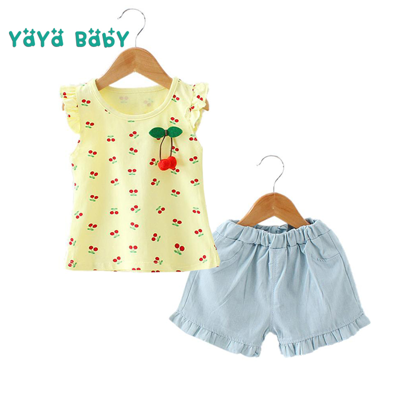 2 3 4 5 Year Baby Girls Clothes 2018 New Casual Cotton Children Clothing Set T-shirts Shorts 2pcs Summer Kids Suits for Girls new 2016 summer cartoon children clothing set plaid kids shorts t shirts 2pcs boys sport suit set fit for 2 7year y01