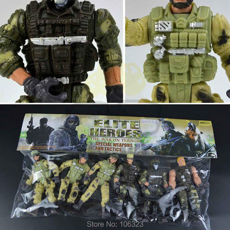 Perang Melawan Teror Elit Pahlawan, Pasukan Khusus Senjata dan Taktik, 6 Polisi dengan Senjata, tentara Boneka Mainan Bergerak Militer Prajurit
