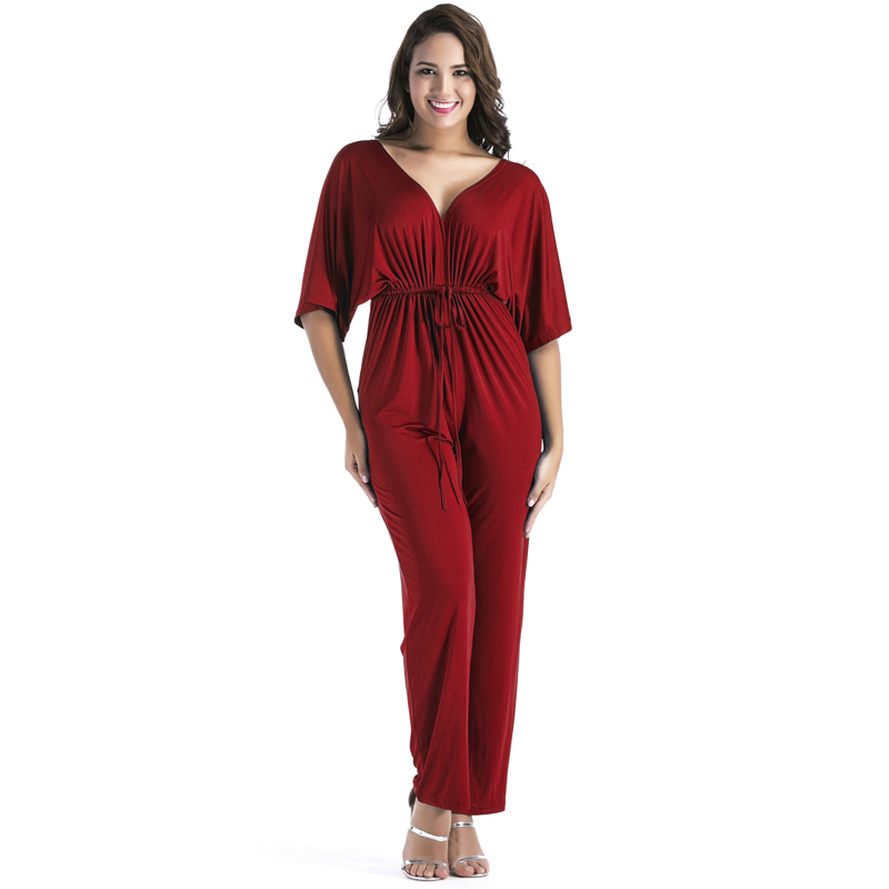 Plus size 3XL jumpsuit women clothing 2018 sexy party v neck fashion tunic wide leg loose romper big size long pant slim overall