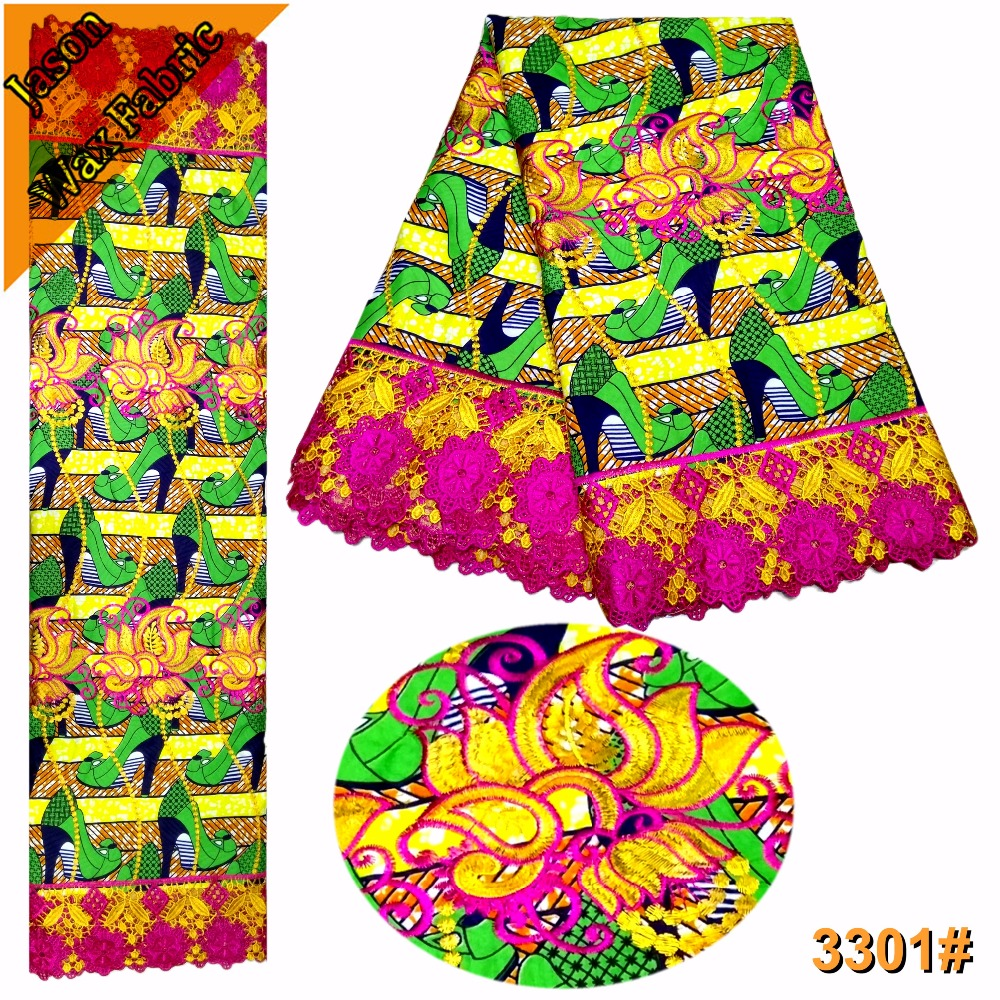 High Quality Embroidered Ankara Lace Fabric Latest African Guipure Wax Colorful Nigerian polyester prints Wax Lace/LBL