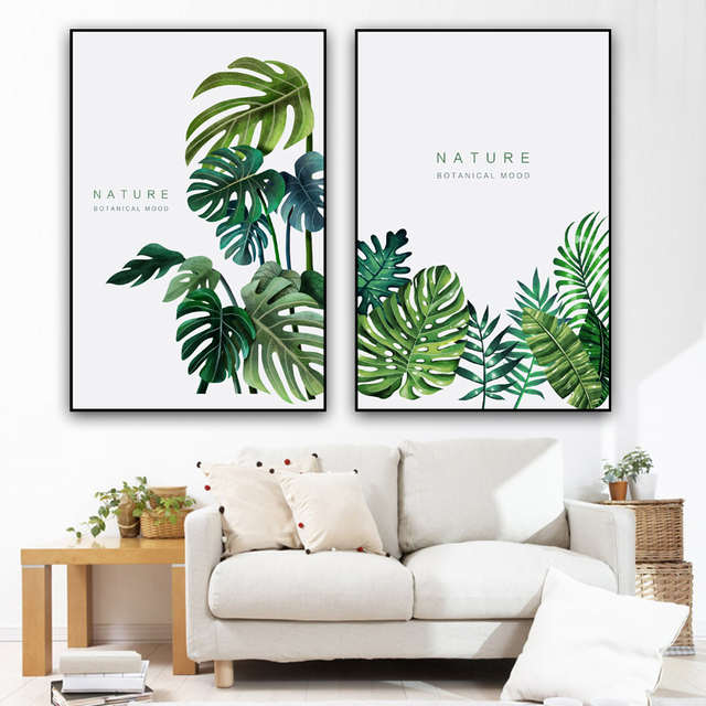 Canvas Painting Tropical Plant Leaves Monstera Deliciosa Nordic Style Wall Art Picture For Decoration No Frame In Painting Calligraphy From Home
