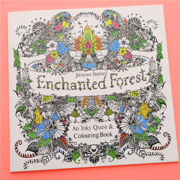 24 Pages Enchanted Forest English Edition Coloring Book for Children Adult Relieve Stress Kill Time Painting Drawing Book image