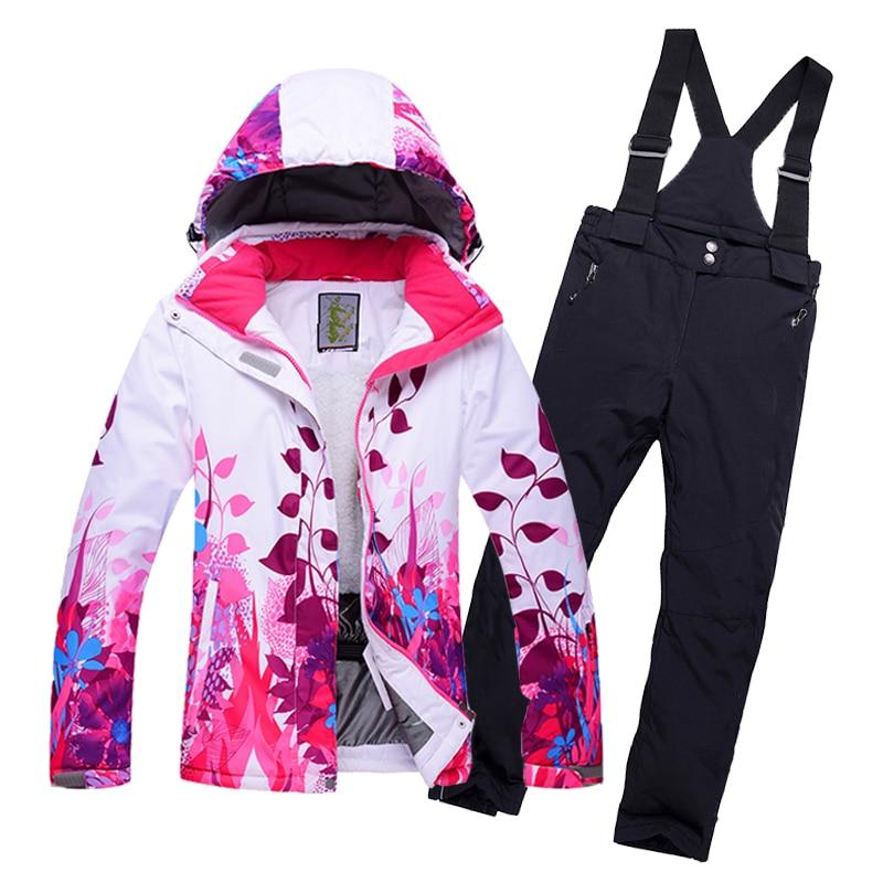 Водонепроницаемый 10000 мм для маленьких девочек зимний детский лыжный  верхняя одежда куртка с капюшоном повязки Брюки для девочек сноуборд . 07990f5ae39b1