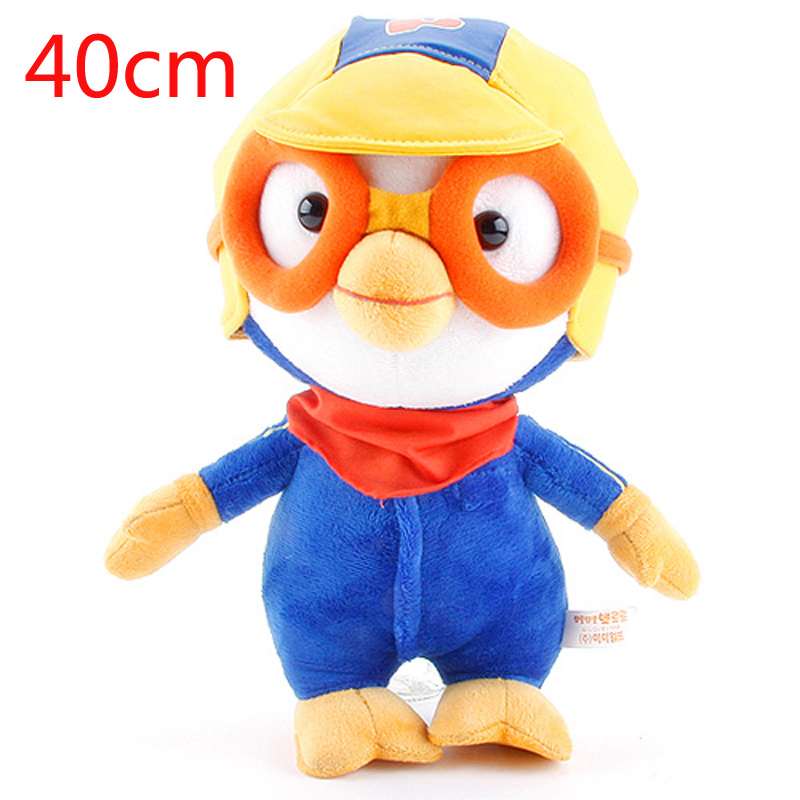 Big Size 40cm Korea Pororo With Glasses Plush Toys Doll Soft Stuffed Animals Toys Brinquedos for Children Kids Gifts 30cm cute korea pororo little penguin plush toys doll pororo with glasses plush soft stuffed animals toys for children kids gift