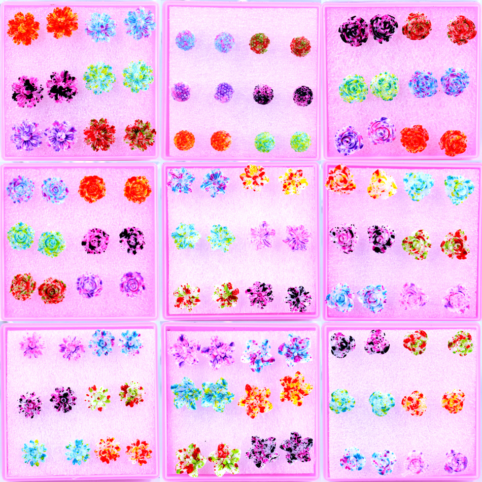 Free Shipping Wholesale Cheap Resin Colorful Plastic Cute Flower Design  Antiallergy Stud Earrings Ladies