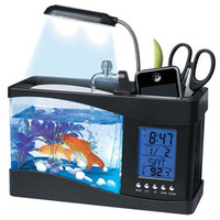 1pcs USB Desktop Electronic Aquarium Mini Fish Tank with Water Running LED Pump Light Calendar Alarm Clock