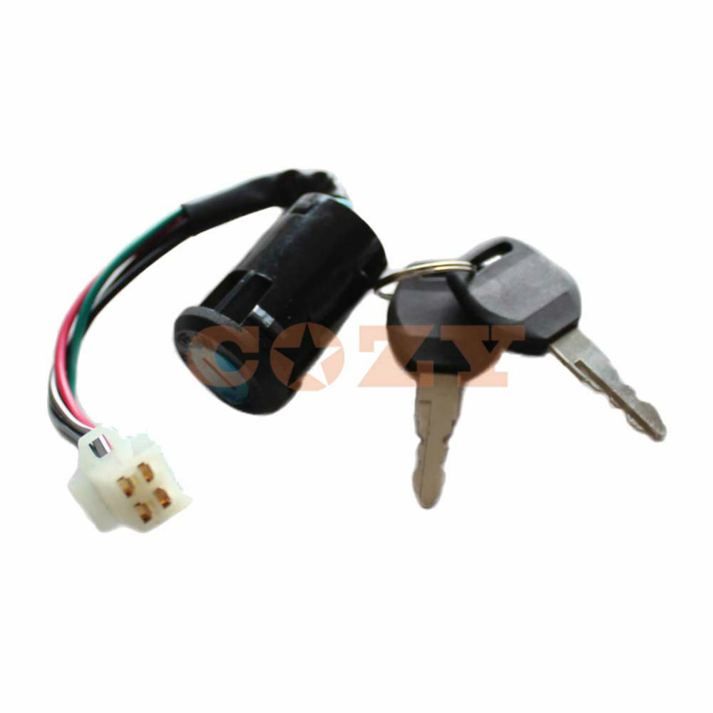 4 wire ignition key switch for 49cc 50cc 70cc 90cc 100cc 2006 Chinese ATV Wiring Diagram Chinese 4 Wheeler Wiring Diagram