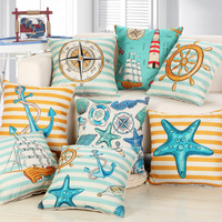 Lovely Ocean Style Cotton Linen Cushion Covers For Sofa Home Decor Kid Baby Room Anchor Starfish