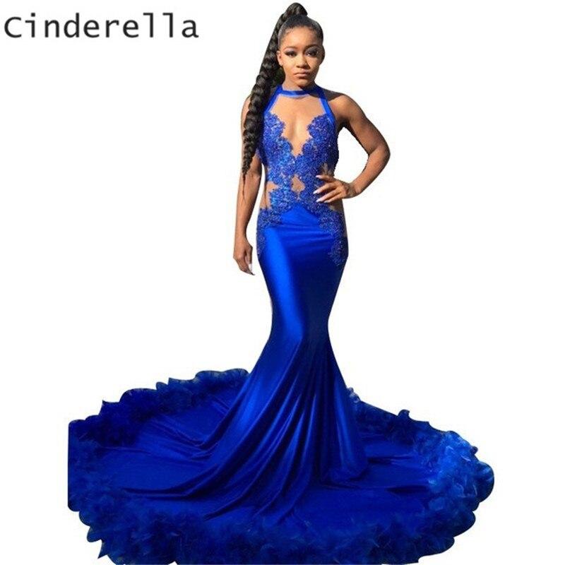 Cendrillon Royal bleu licou sans manches Court Train sirène dentelle Applique soie Satin robes de bal avec plume sirène robe de bal
