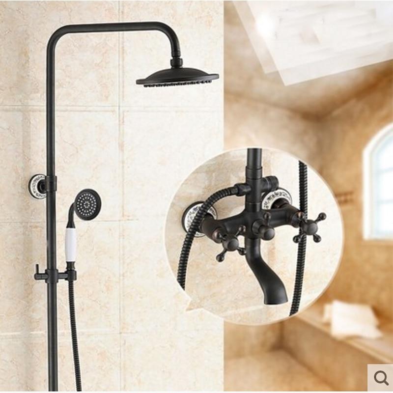 Oil Rubbed Bronze 8 Brass Rain Shower Head Ceramic Shower Mixer Tap Hand Shower