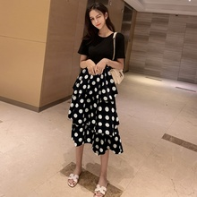 Fashion Womens Dress Summer Dresses Solid Color T-shirt Wave Cake Maxi Women Clothing