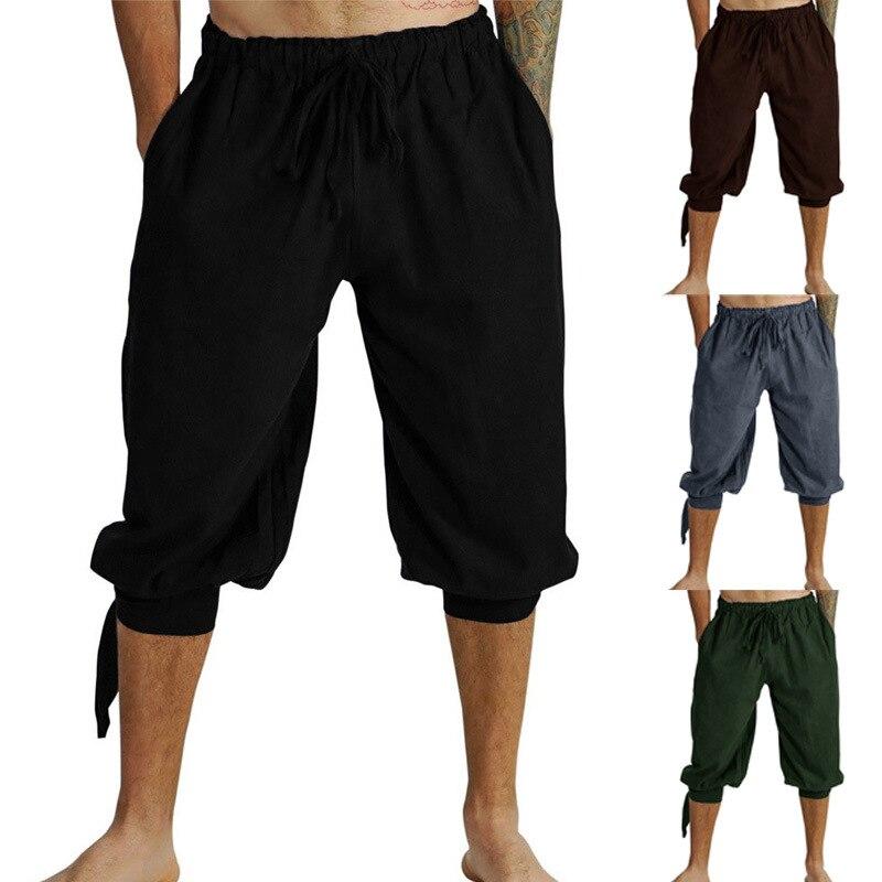 Men Medieval Renaissance Viking Pirate Pants Cosplay Costume Loose Pants Horseman Peasant Castaways Costume Bloomers Trousers
