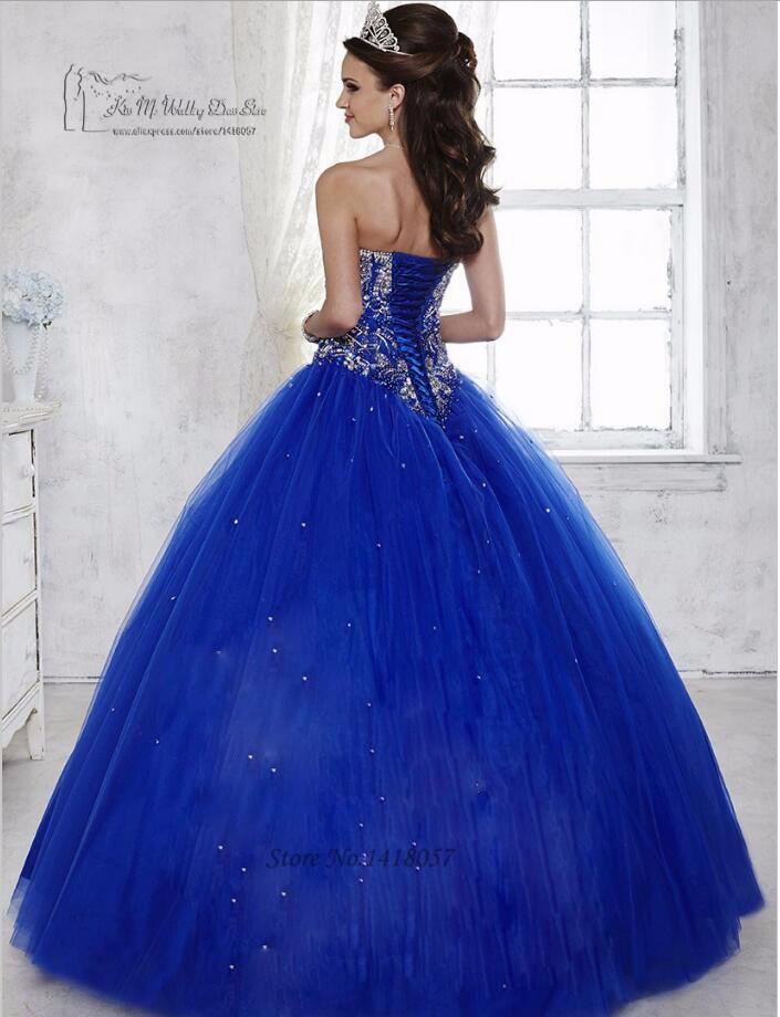 Royal Blue Fancy Ball Gown Quinceanera Dresses 2017 Rhinestones Vestidos de  15 Anos Tulle Floor Length Beaded Sweet 16 Dresses 36c518ae0ef1