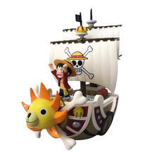 цена на Anime One Piece THOUSAND SUNNY Pirate Ship PVC Action Figure Doll Collectible Model DIY Toy Christmas Gift