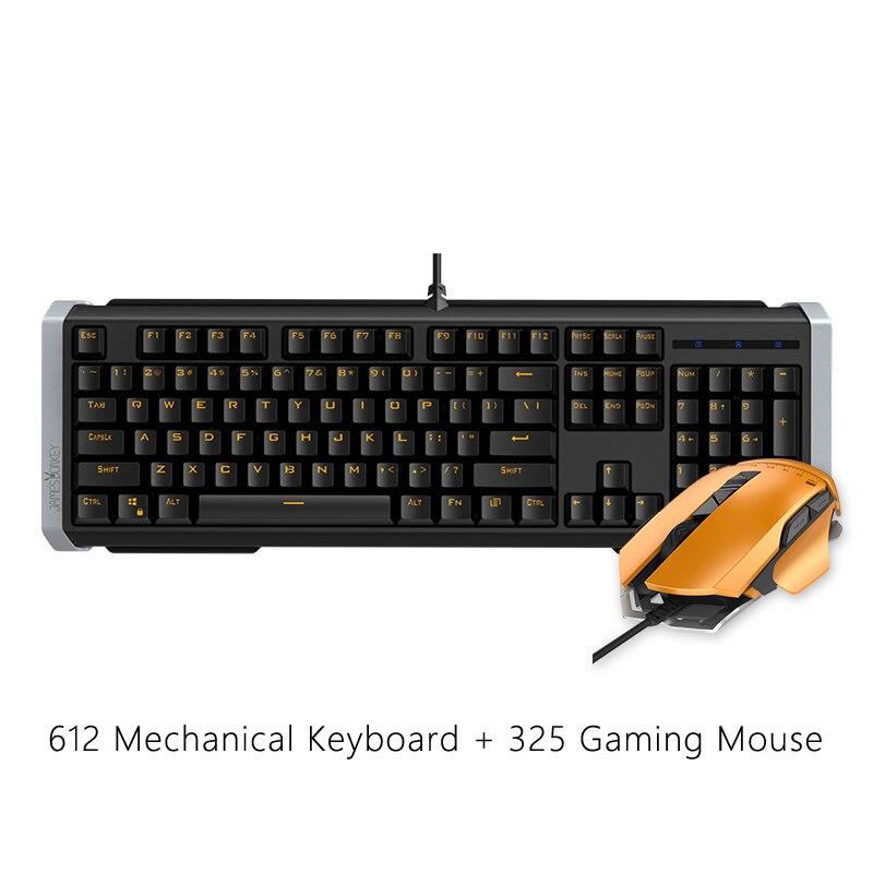 Souris de jeu filaire USB + clavier de jeu mécanique à 104 touches avec rétroéclairage de LED anti-images fantômes pour Mac PC Gamer CS, souris de jeu