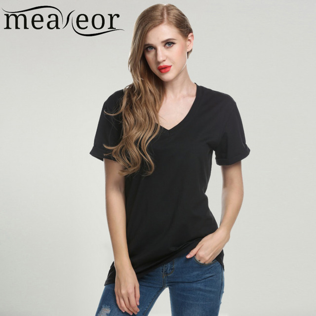 b650246a1 Meaneor Brand Women Casual T-Shirt Basic Tee Tops Fashion V-Neck Women  Short Sleeve Black t-shirt Solid tee shirt femme