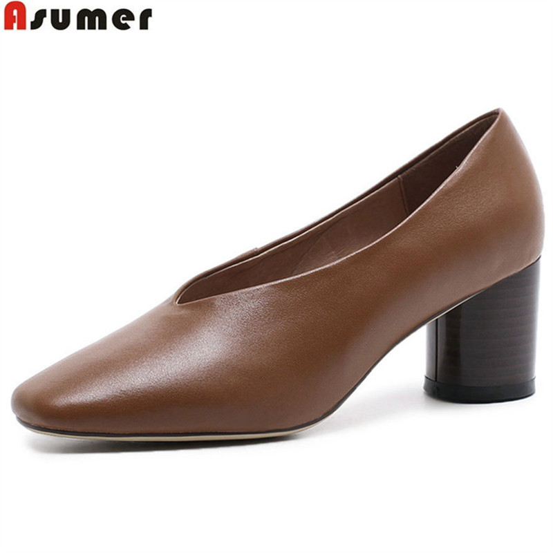 ASUMER black fashion spring autumn shoes woman shallow square toe women natural genuine leather high heels shoes thick heel asumer red black fashion spring autumn shoes woman round toe shallow casual square heel patent leather women low heels shoes