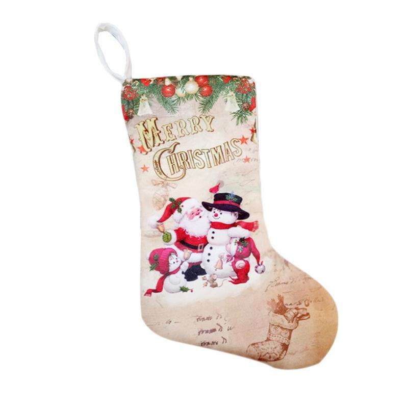 Image 2 - Christmas Stockings Pendant Cloth Ornaments Small Boots Pendant Christmas Pattern Print Party Home Decoration Supplies Gift Bag-in Stockings & Gift Holders from Home & Garden