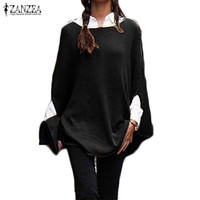 ZANZEA Women Sweater 2017 Autumn Pollover Casual Loose Batwing Sleeve Pullovers Sexy Jumper Plus Size Tops