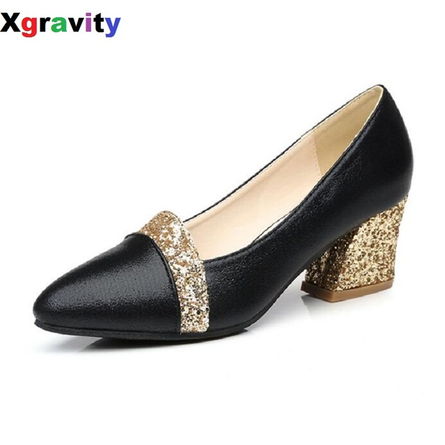264c391bc48 Autumn Point Toe Dress Shoes Chunky Heels Bling Sexy Women Evening Shoes  Elegant Genuine Leather Woman Mid Heeled Pumps C117