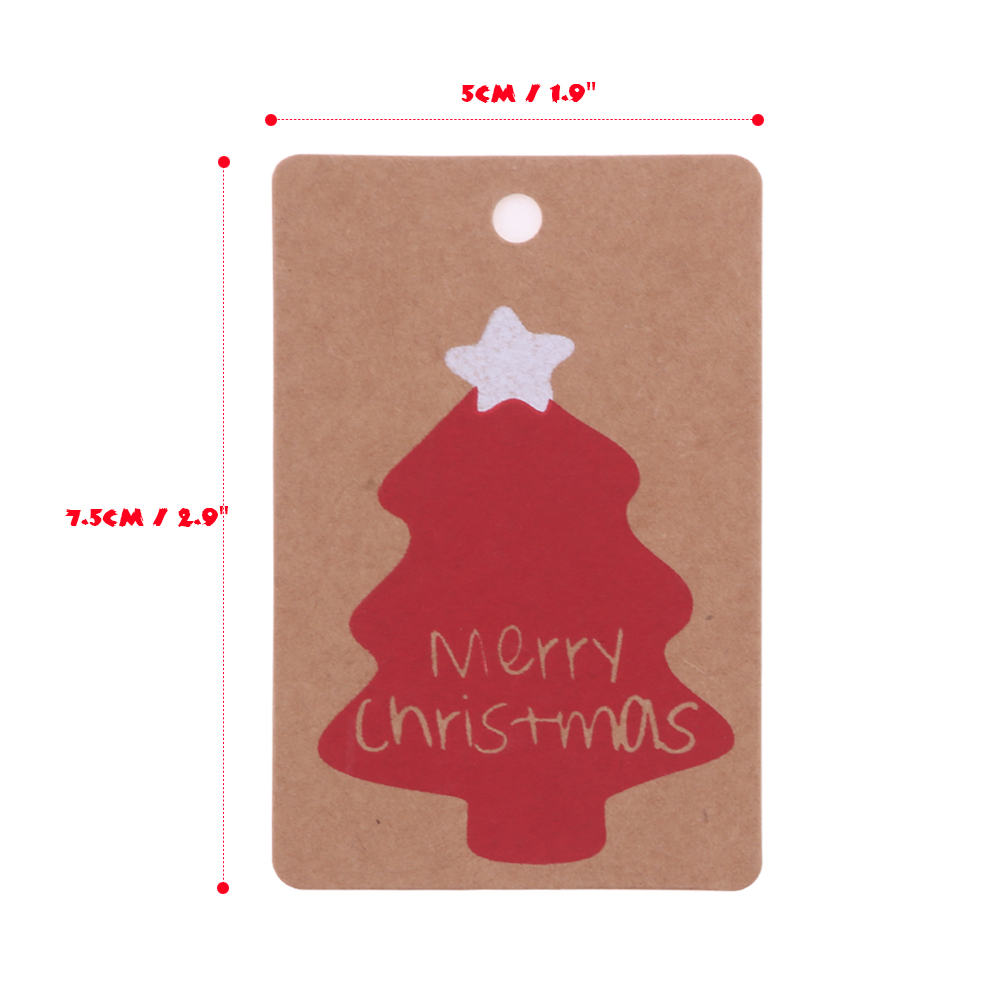 50PCS Christmas Kraft Paper Hanging Tags Card Christmas Ornaments ...