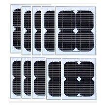цена на High Efficiency Solar Panel  12v 10w 10PcsPlaca Solares 100w Solar Battery Mobilephone Marine Autocaravanas TV Flashlight