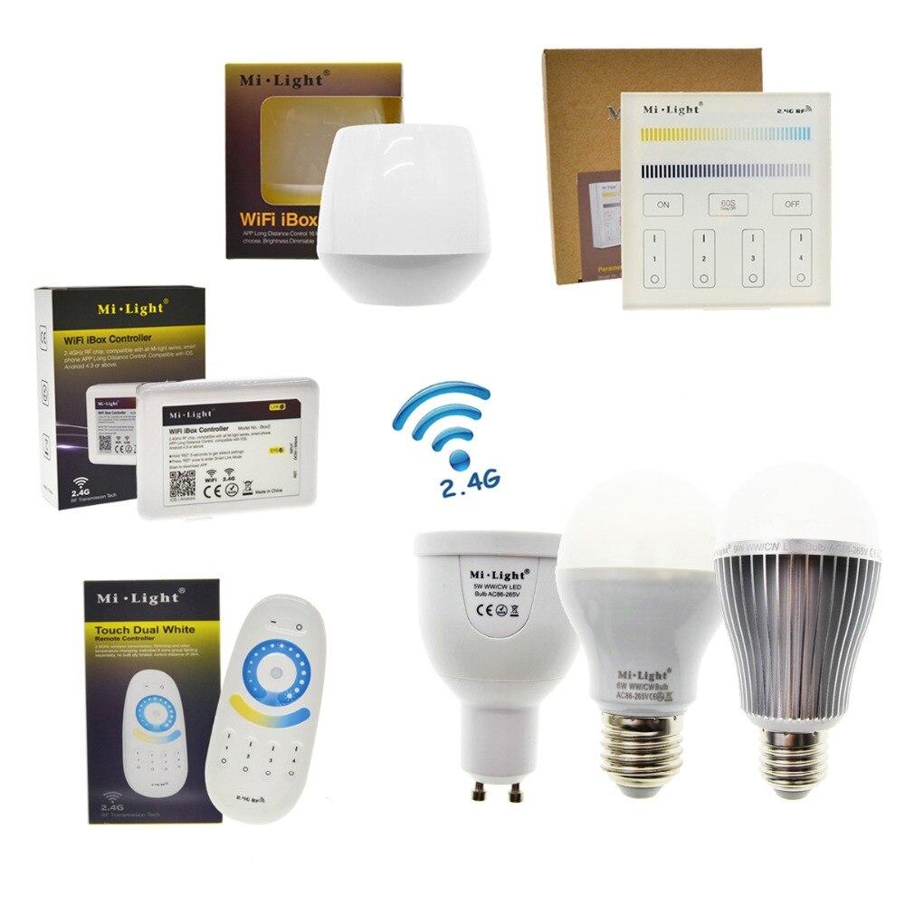 LED Bulb Mi Light GU10 5W E27 6W 9W Color Temperature & Brightness Dimmable Remote Control Smart Lighting