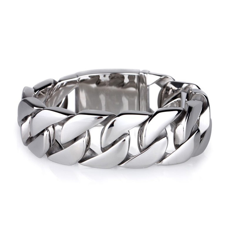 Large Bracelet Shiny Glossy Stainless Steel Mens Bracelets Rock Punk 20mm Wide Chain Bangles Jewelry Accessories In Link