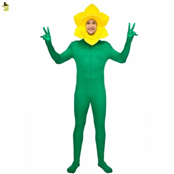 New Sunflower Costume  Adult Men Fancy Dress With Yellow and Green Flower Jumpsuit Funny Role Play For Carnival Party - discount item  10% OFF Costumes & Accessories