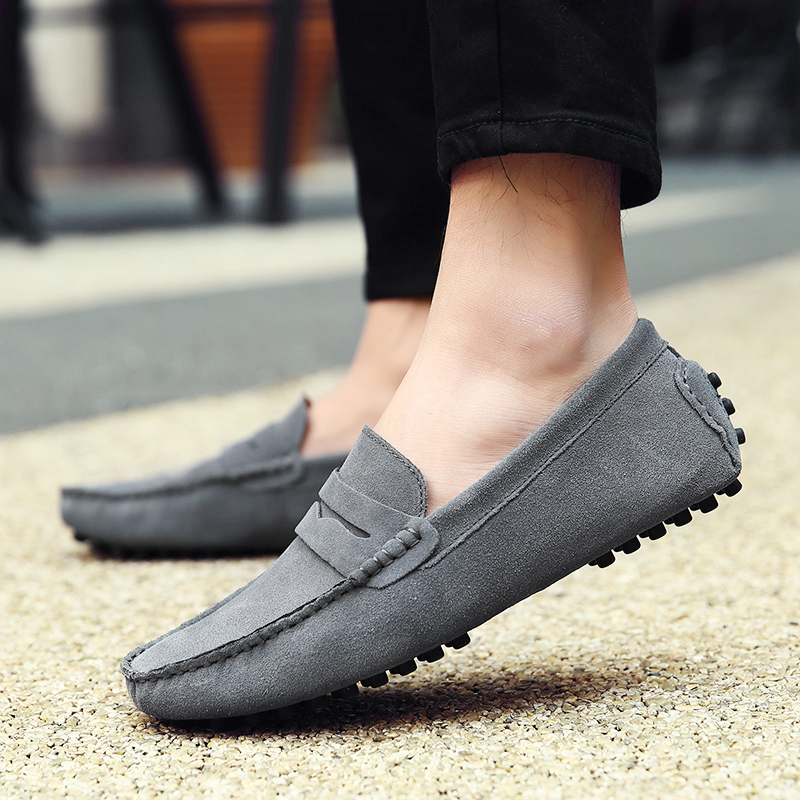 Shoes Men Loafers Soft Moccasins High Quality Autumn Winter Genuine Leather Shoes Men Warm Fur Plush Flats Gommino Driving Shoes