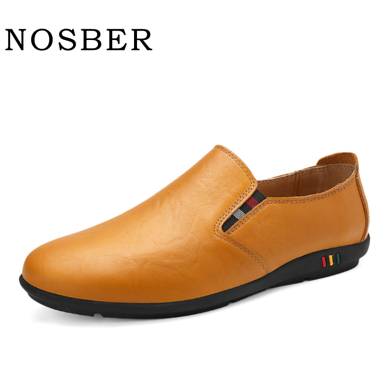 NOSBER 2018 Genuine Leather Male Doug Shoes Soft Comfotable Men Casual Shoes Slip On Driving Loafer shose