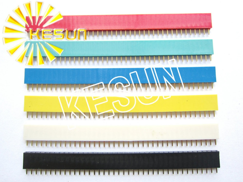 60PCS/lot Red Green Blue Yellow White Black 2.54MM 1X40 40P 40Pin Female Pin Header Stri ...