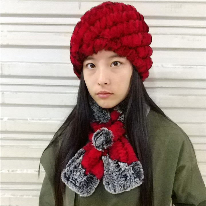 Real Fur Hat And Scarf Set. Women's Warm Winter Soft Natural Rex Rabbit Cap,Handmade Knitted Scarves 2 Piece Best Gift H233