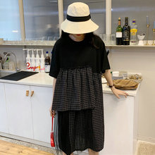 Fashion Layered Dresses Women Black Plaid Patchwork One Piece Female Loose Plus Size Dress Woman Summer Casual Streetwear 2019 недорого
