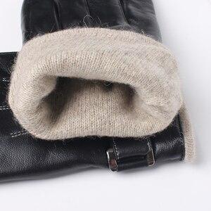 Image 5 - Gours メンズ本革手袋ファッション黒シープスキン指手袋ウール裏地暖かいで冬の新 GSM053