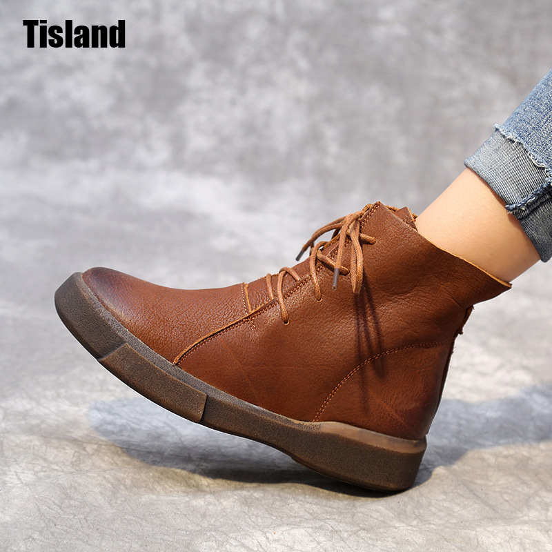 Fashion Boots Women England Style Brand New Women Genuine Leather Shoes For Lady Autumn Ankle Boots Winter Retro Martin Boots new 2016 spring autumn summer fashion casual flat with shoes breathable pointed toe solid high quality shoes plus size 36 40