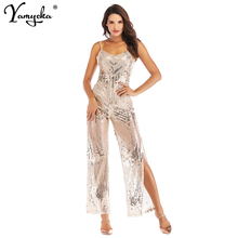 2018 Summer Silvery Sequin Bodysuit Women V-neck Backless Macacao Feminino Sexy Spaghetti Strap Forking Overalls Party Jumpsuit